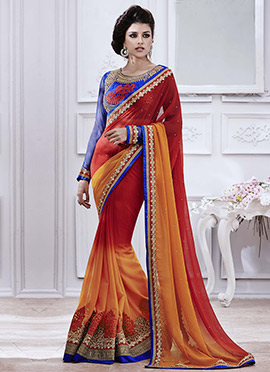 Red N Orange Chiffon Saree