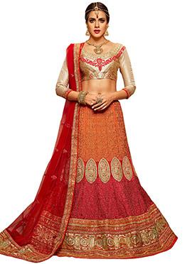 Red N Orange Embroidered A Line Lehenga Choli