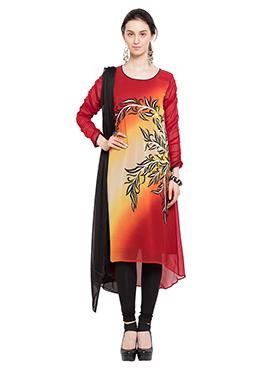 Red N Orange Georgette Anarkali Suit