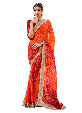 Red N Orange Georgette Bandhini Saree