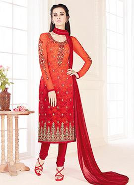 Red N Orange Georgette Churidar Suit