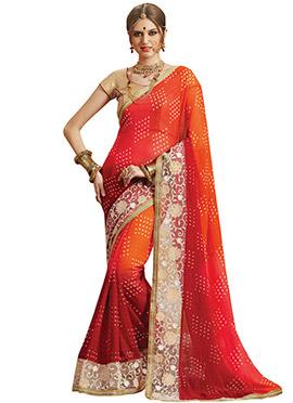 Red N Orange Georgette Printed Bandhini Saree