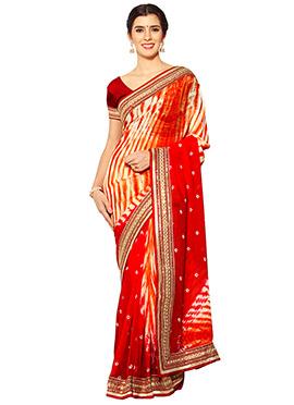 Red N Orange Georgette Saree