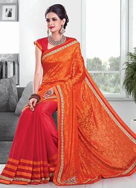 Red N Orange Half N Half Saree