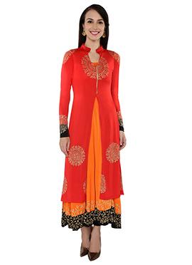 Red N Orange Layered Long Kurti