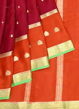 Red N Orange Pure Handloom Mysore Silk Saree