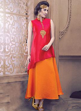 Red N Orange Silk N Georgette Skirt Set