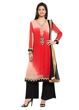 Red N Peach Georgette Palazzo Suit