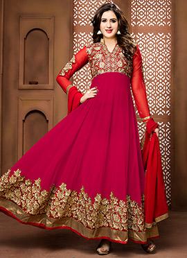 Red N Pink Abaya Style Anarkali Suit