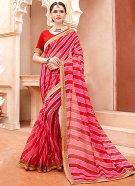 Red N Pink Cotton Silk Leheriya Saree