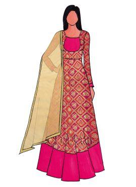 Red N Pink Dual Tone Art Silk Abaya Suit