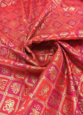 Red N Pink Dual Tone Art Silk Fabric