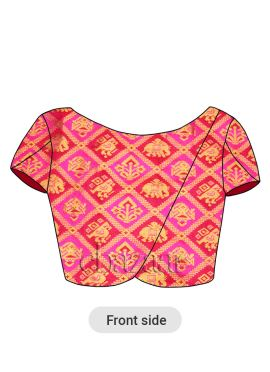 Red N Pink Dual Tone Art Silk Petal Sleeve Blouse