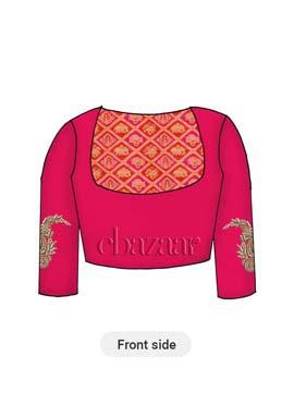 Red N Pink Dual Tone Art Silk Yoke Style Blouse