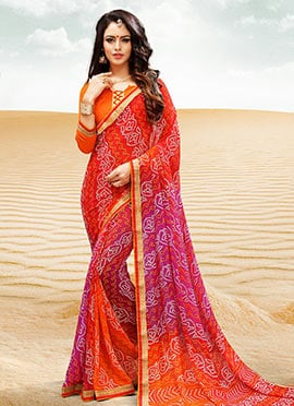 Red N Pink Georgette Bandhini Saree