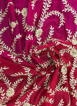 Red N Pink Gota Chinnon Fabric