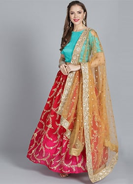 Red N Pink Gota Patti Embroidered Umbrella Lehenga