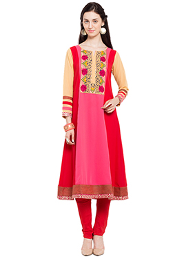 Red N Pink Knee Length Anarkali Kurti