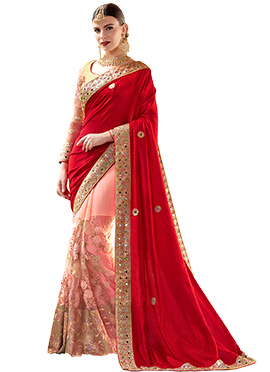 Red N Pink Net Half N Half Saree