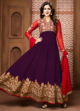 Red N Purple Abaya Style Anarkali Suit
