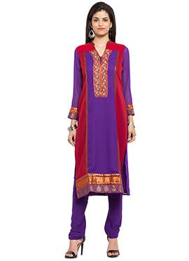 Red N Purple Georgette Kurti