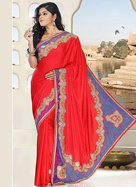 Red N Purple Pure Silk Saree