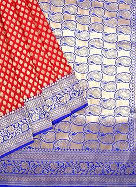 Red N Royal Blue Benarasi Pure Silk Saree