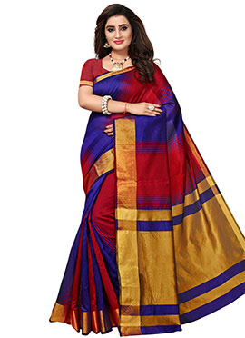 Red N Royal Blue Cotton Silk Saree