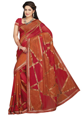 Red N Rust Geometrical Brasso Saree