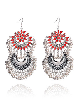 Red N Silver Hook Style Chaand Bali Earrings