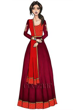 Red N Tango Red Embroidered Anarkali Suit
