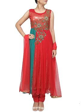 Red N Teal Anarkali Suit