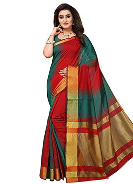 Red N Teal Green Cotton Silk Saree
