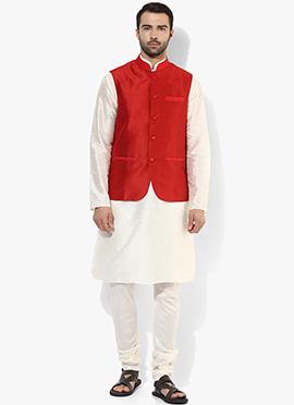 Red N White Art Dupion Silk Bandi Set