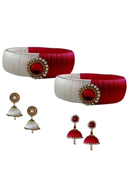 Red N White Bangles Combo