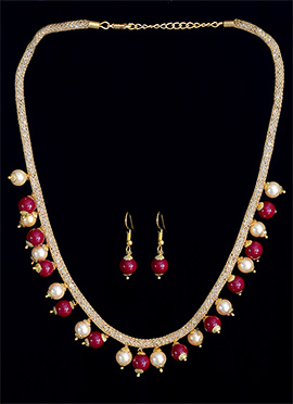 Red N White Beads Necklace Set