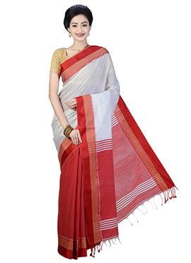 Red N White Bengal Handloom Half N Half Saree