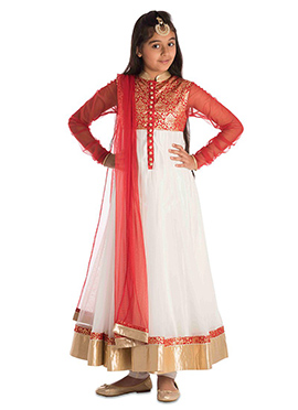 Red N White Brocade N Net Anarkali Suit