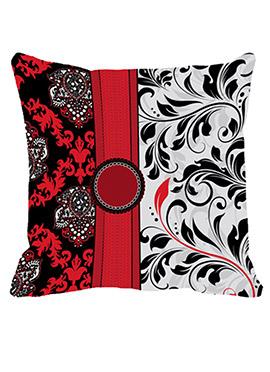 Red N White Button Motive Cushion Cover