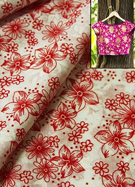Red N White Printed Cotton Blouse Material