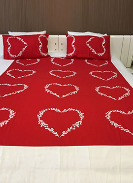 Red N White Pure Cotton Bed Sheet