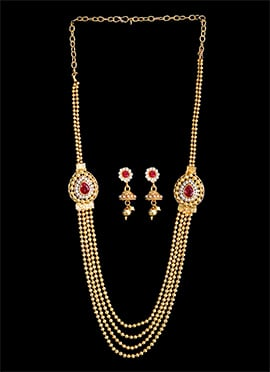 Red N White Stone Necklace Set