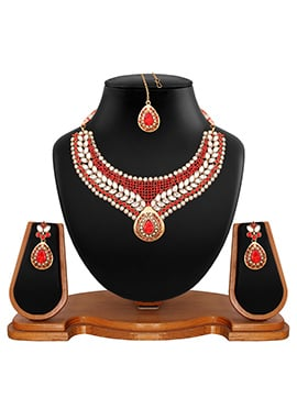 Red N White Stone Studded Necklace Set