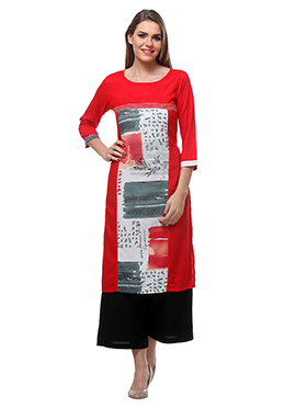Red N White Viscose Palazzo Suit