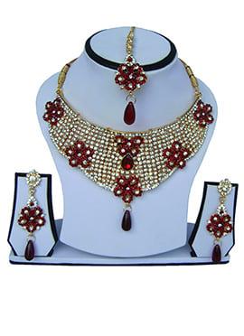 Red N White Zircon Stone Necklace Set