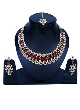 Red N White Zircon Stone Necklace Set