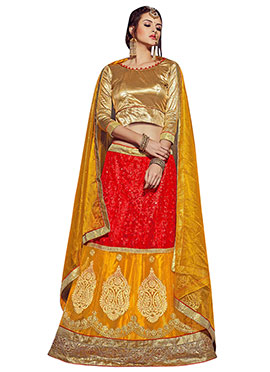 Red N Yellow A Line Lehenga Choli