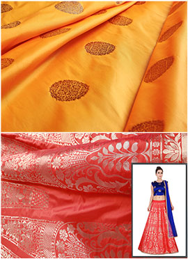 Red N Yellow Art Silk A Line Lehenga Choli