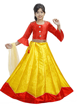 Red N Yellow Art Silk Kids A Line Lehenga