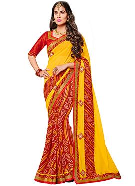 Red N Yellow Bandhini Half N Half Saree